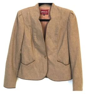 Vintage Sasson tan wool fitted tailored blazer
